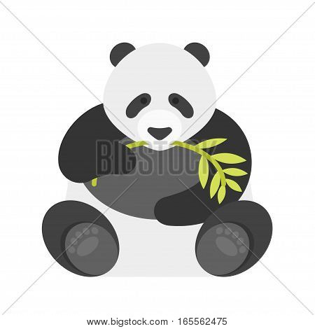 Vector flat style illustration of panda. Icon for web. Isolated on white background.