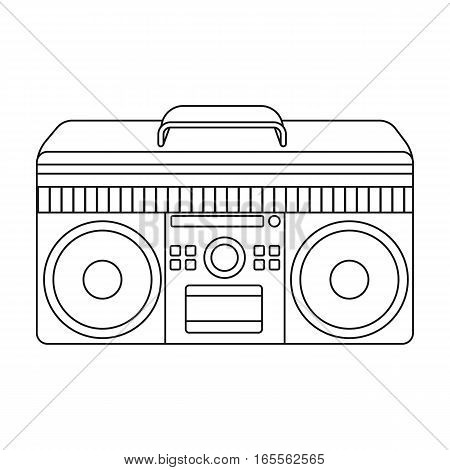 Boombox icon in outline design isolated on white background. Hipster style symbol stock vector illustration.