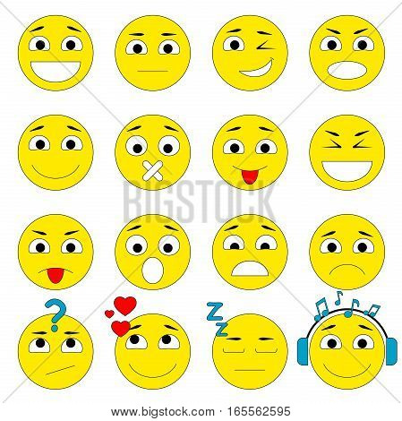 Set of Emoticons. Emoji icons pack. Isolated vector illustration