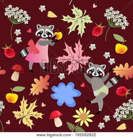 Seamless Vector Pattern With Cute Cartoon Raccoons, Flowers, Raspberries, Mushrooms, Leaves, Apples