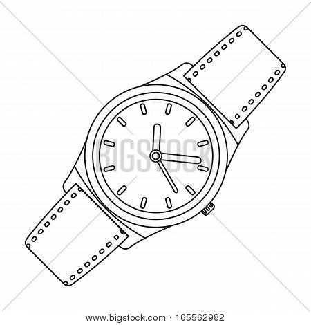 Classic wrist watch icon in outline design isolated on white background. Hipster style symbol stock vector illustration.