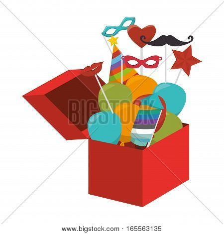 surprice box with carnival elements vector illustration design