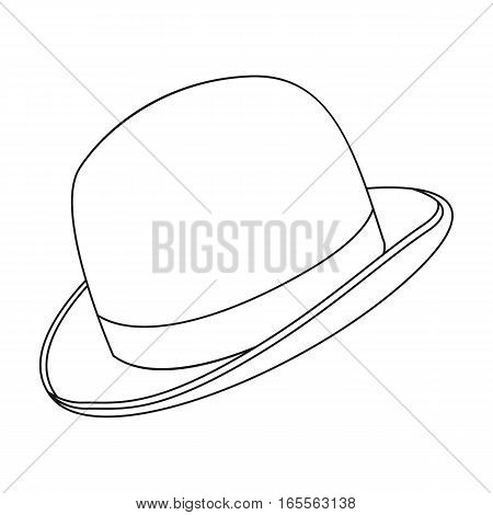 Bowler hat icon in outline design isolated on white background. Hipster style symbol stock vector illustration.