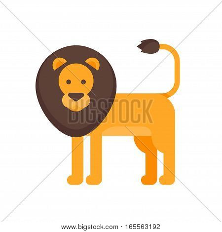 Vector flat style illustration of lion. Icon for web. Isolated on white background.