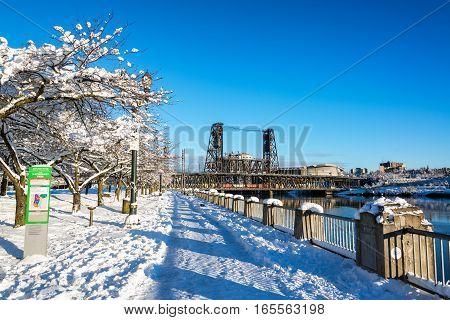 Portland Waterfront In Winter