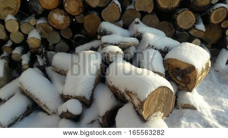 lumber under the snow in village. Sunny day