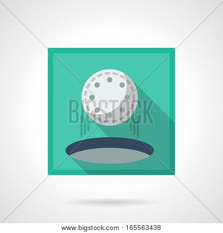 Hole in one symbol. White ball falling into a golf cup on a green lawn. Individual sport concept. Stylish square flat design vector icon with long shadow.