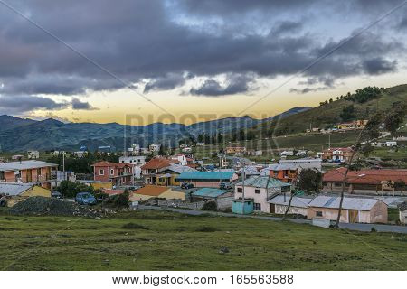 Rural scene at small village near Quilotoa lake in Latacunga Ecuador