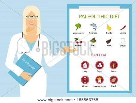 European woman doctor shows paleolithic diet. Girl standing