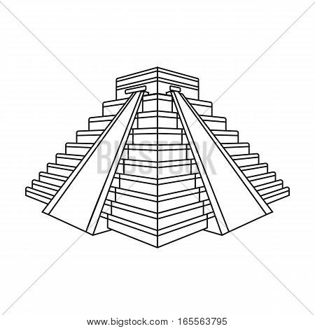 Chichen Itza icon in outline design isolated on white background. Countries symbol vector illustration.
