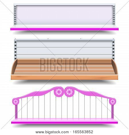 Vector Empty Shop Shelves isolated on white background