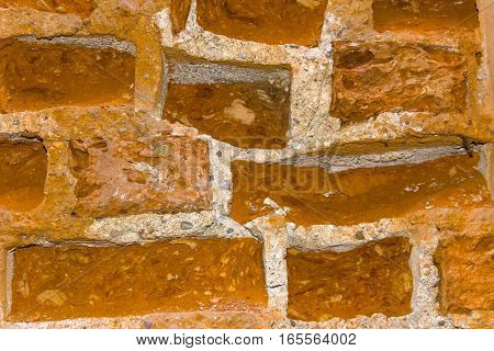 The fragment of the old brickwork background