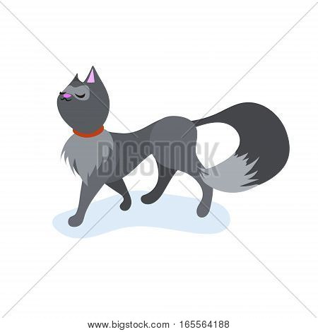 Cute cartoon cat, walking with funny face. Flat vector illustration isolated on white.