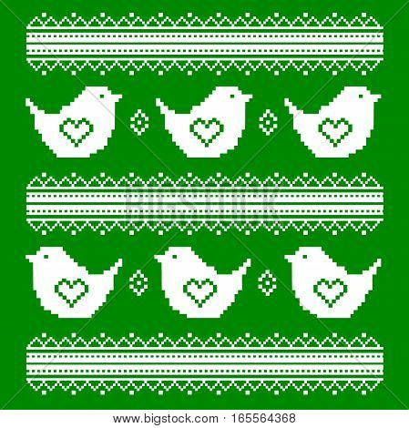 The embroidered white birds on a green background in the Ukrainian style. Valentine s Day. Vector ethnic pattern