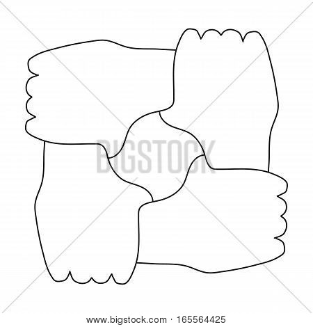 Ring of hands icon in outline design isolated on white background. Charity and donation symbol stock vector illustration.