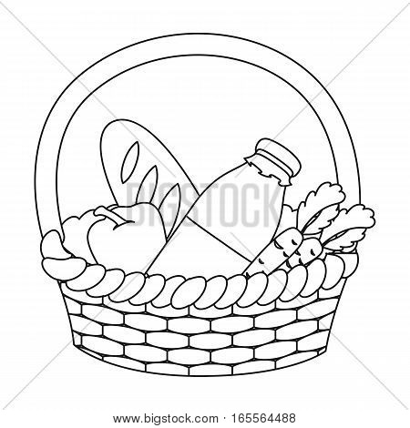 Basket with products icon in outline design isolated on white background. Charity and donation symbol stock vector illustration.