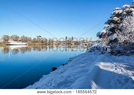 Snowy Trail In Portland