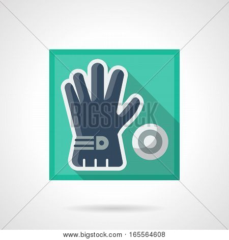 One blue golf glove with ball. Golfer accessories, sport style for activity leisure, training, skill improvement. Stylish square flat design vector icon with long shadow.