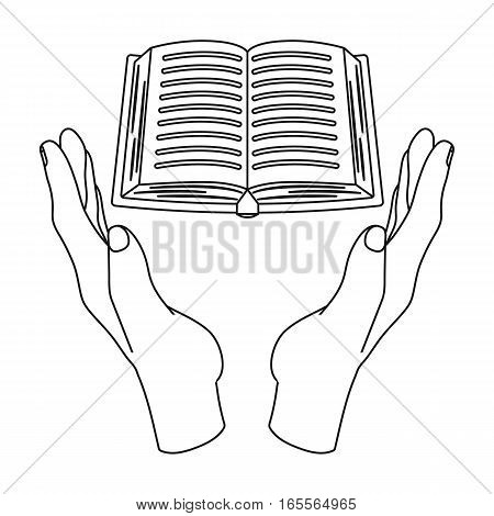 Book donation icon in outline design isolated on white background. Charity and donation symbol stock vector illustration.