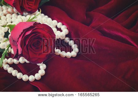 fresh red rose with pearls on scarlet velvet background, retro toned