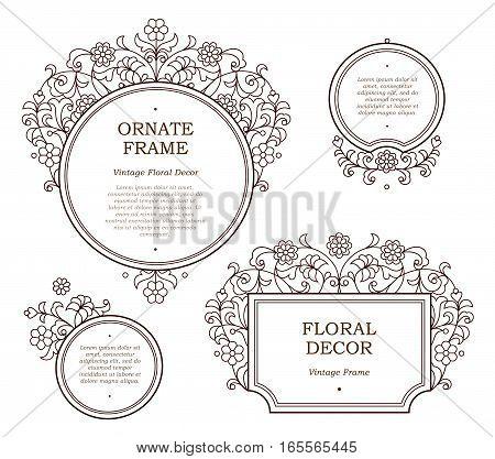 Vector Line Art Frames For Design Template.