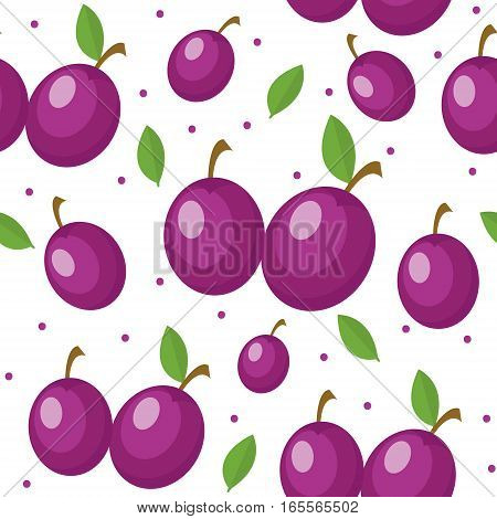 Plums seamless pattern. Plum endless background, texture. Fruits backdrop. Vector illustration