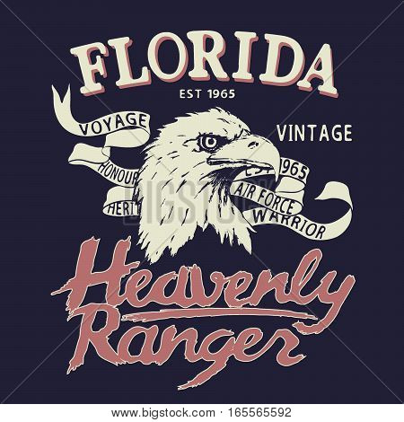 Eagle is a heavenly ranger.Vintage emblem.Prints design for t-shirts
