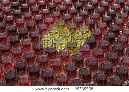 Tasting Wine With Palette Of Red, Roze And White Wines In Glasses On The Wooden Table.