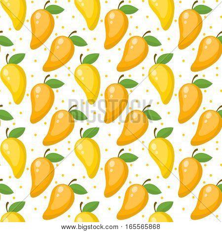 Mango seamless pattern, endless background, texture. Fruits background Vector illustration