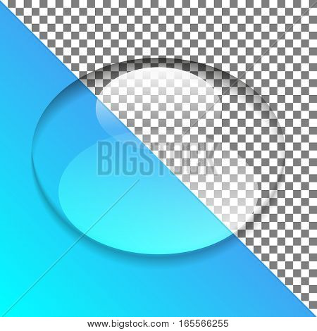 Oval drop of water on transparent background. Vector illustration.