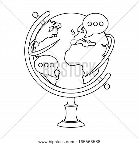 Globe of various languages icon in outline design isolated on white background. Interpreter and translator symbol stock vector illustration.