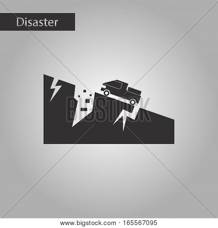 black and white style icon of natural disaster earthquake car