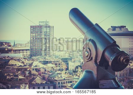 City observation with telescope and cityscape with skyscrapers retro photography.