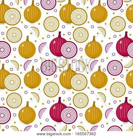 Onions seamless pattern. Bulb onion endless background, texture. Vegetable background. Vector illustration