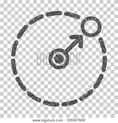Round Area Border grainy textured icon for overlay watermark stamps. Flat symbol with unclean texture. Dotted vector gray ink rubber seal stamp with grunge design on a white background.