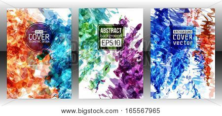 Set of splash paint layout templates for flyer. Vector brochure background with watercolor effect. Abstract ink cover. Aquarelle background poster. Stain layout design. Vector illustration eps 10
