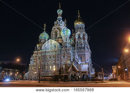 St. Petersburg, Russia - 7 January, Church of the Resurrection, the Savior on Spilled Blood, 7 January, 2017. Night of St. Petersburg in the New Year and Christmas holidays.