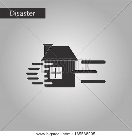 black and white style icon of wind destroys house