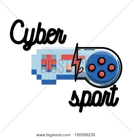Color vintage cyber sport banner. Logo for cybersport discipline or cybersport team.