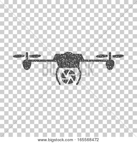 Shutter Spy Airdrone grainy textured icon for overlay watermark stamps. Flat symbol with unclean texture. Dotted vector gray ink rubber seal stamp with grunge design on a white background.