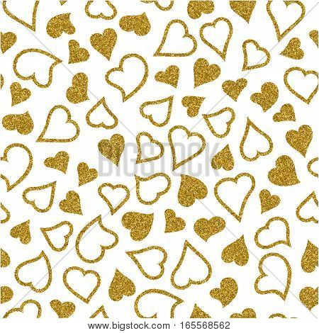 Valentine's day seamless pattern with gold glitter hearts. Valentines day background for invitation. Endless texture can be used for printing onto fabric paper or scrapbooking.