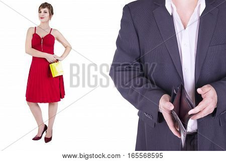 Couple adult isolated on white background. Shopping concept.