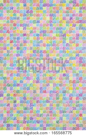 Colored Pencil Scribble Pattern on Squared Paper. Colorful Realistic Handmade Background.