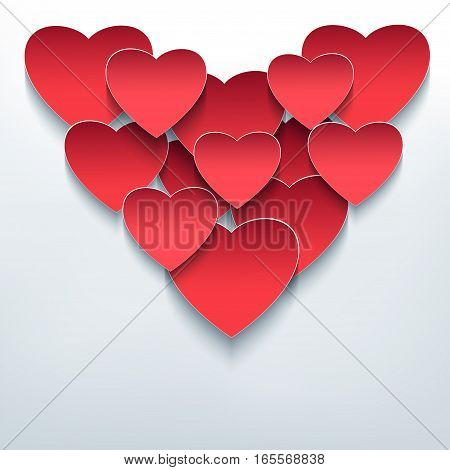 Valentines day background with 3d hearts cutting paper. Stylish creative abstract wallpaper. Trendy romantic love card. Vector illustration.