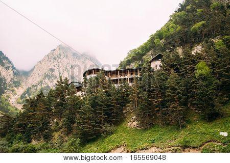 Building Of Dariali Monastery residence in Darial Gorge In Mtskheta-Stepantsminda-Larsi, Georgia