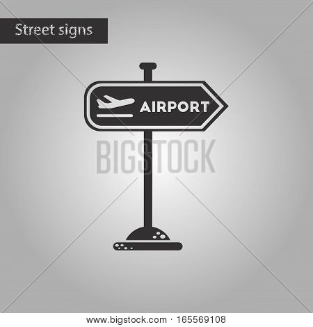 black and white style icon of airport sign