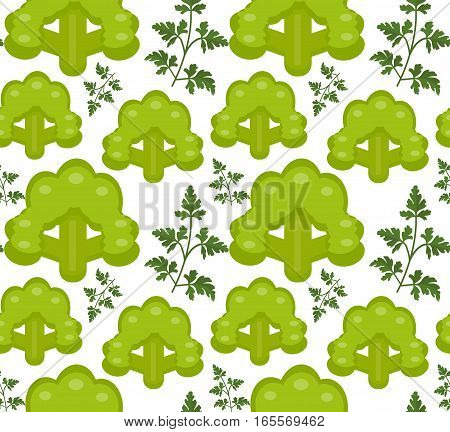 Broccoli seamless pattern. Healthy food endless background, texture. Vegetable backdrop. Vector illustration