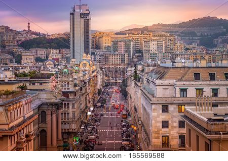 Italy Genoa city center street viewed from top.
