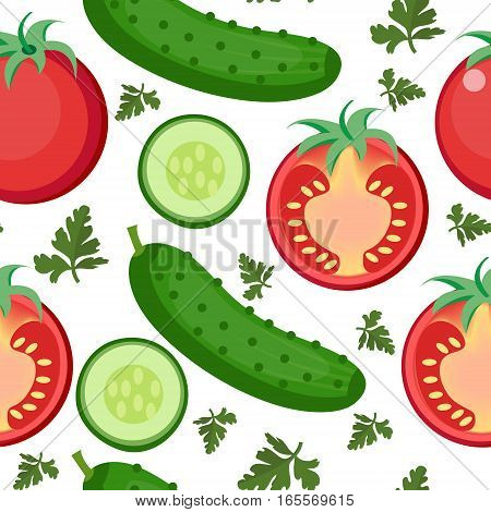 Salad seamless pattern. Tomato and cucumber endless background, texture. Vegetable backdrop. Vector illustration
