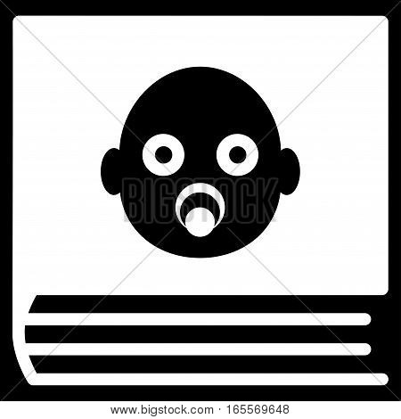 Baby Album vector icon. Flat white symbol. Pictogram is isolated on a black background. Designed for web and software interfaces.